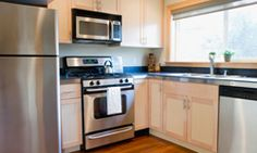 """""""Golden Triangle"""": sink, fridge, & stove are near each other (supposedly best design strategy)"""