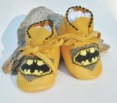 Batman Beaded Baby Moccasins and Soft Soled Shoes made of soft deer hide leather