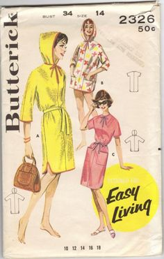 Butterick 2326 1960s Misses Pullover Hooded Dress and Beach Jacket vintage sewing pattern by mbchills,