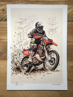 "Commissioned illustration of ""Fez' by Adi Gilbert / 99seconds.com  Enduro / motocross / motorcycle / illustration / motoart"