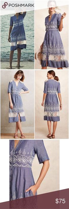 """Anthropologie Embroidered Waters Dress Embroidered waters dress by Moulinette Soeurs ❤️see fabric detail in pic 6. Lovely dress perfect for any occasions 💕 bust 16.5"""" waist 14.5"""" length 39"""". Worn once. Selling as it's tight for me☹️ Anthropologie Dresses"""