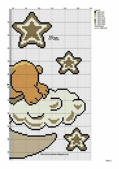 Teddy on Moon Cloud Right Side graph Baby Cute https://au.pinterest.com/elenamarzinotto/
