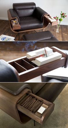 El Purista Smoker's Armchair Holds Cigar and Whiskey Glasses #chairdesign #furniture #chair #smokechair