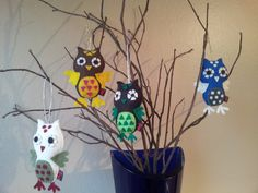 SET OF 4 Owl Stuffed Plushie Hanging Eco Felt Party Favor Decoration Ornament Made to Order