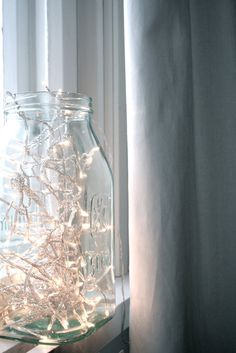 Lights in a glass jar.