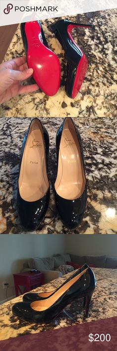 Christian loubtain black patent leather shoes One year old work once beautiful classical shoes.  Close to perfect inside and on some. Shoes Heels