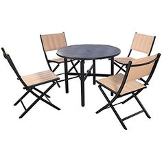 Giantex 5 PCS Patio Outdoor Folding Chairs Table Furnitur…
