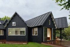 Black house with metal roof