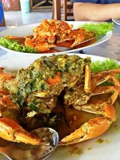 Crab king with green chilli sauce