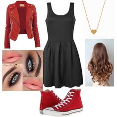 make it red. by annikasallie on Polyvore featuring polyvore fashion style Ally Fashion Converse Minnie Grace
