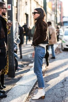 Jeans and fur.