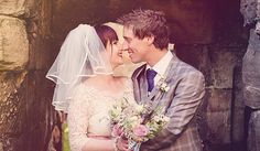 Lisa with her bespoke wedding veil and Kev at the Castle