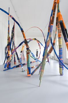 Anton Alvarez, Thread Wrapping Architecture series, Ongoing project, photograph by Katrin Grejling