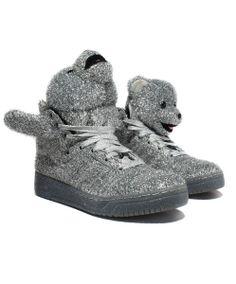 adidas: Jeremy Scott JS Tinsel Bear (Metallic Silver/Black) - US$200.00