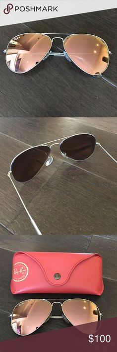 Ray ban flash lens Worn once, excellent condition (like new). 100% authentic, matte silver frame with pinkish tone lens Ray-Ban Accessories Sunglasses