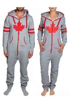 Our CANADA unisex onesie was made for the north. From the Rockies to the Coast, this UNI adult onesie truly represents our home country. The CANADA onesie is mad Mens Onesie, Kangaroo Pouch, Red Accents, Grey Fabric, Female Models, Onesies, Jumpsuit, Canada, Unisex