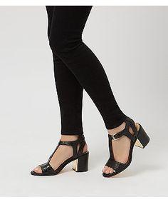Black Textured T-Bar Block Heels    New Look