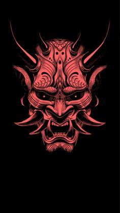 Oni 2 (u/averyarflin) removed the text and upscaled it a little bit Japanese Artwork, Japanese Tattoo Art, Japanese Tattoo Designs, Oni Mask Tattoo, Hanya Tattoo, Samurai Mask Tattoo, Mascara Oni, Samourai Tattoo, Samurai Wallpaper