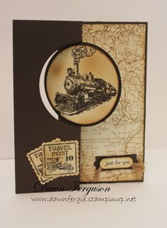 """Traveler ; World map ; Postage due ; Teeny tiny wishes ; 2 1/2"""" Circle punch ; Word window punch ; Modern label punch ; Postage stamp punch ; Masculine card"""