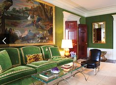living room of Tory Burch. i love the kelly green!