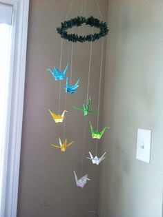 Peace Mobile with Origami Cranes. Great to hang over a Montessori Peace Space. Art For Kids, Crafts For Kids, Arts And Crafts, Paper Crafts, Diy Crafts, Indoor Activities For Kids, Activities To Do, Origami Bird, Origami Cranes