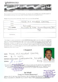 Mohd.Ali Ashraf Fatmi has pledged to use www.Indiademocracy.com to connect with people.