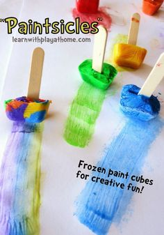 Paintsicles. Frozen paint cubes for creative fun. Fun for on the sidewalk during the summer!   Learn with Play at Home