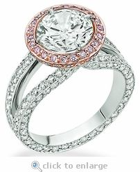 Cubic zirconia Rose Gold Halo Engagement Ring by Ziamond.  The Messina Solitaire features a 3 carat round center with a rose gold halo of pave set rounds.  $3295