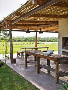 Pergola Connected To House Info: 3626071704 Patio Pergola, Rustic Pergola, Backyard Patio, Porch Garden, Bamboo House Design, Patio Design, Outdoor Rooms, Outdoor Living, Outdoor Decor