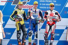 Moto2 (左から)アレックス・リンス、ロレンソ・バルダッサーリ、中上貴晶
