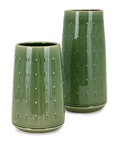 How fun are these green vases. Decorative Pillows, Decorative Plates, Wholesale Home Decor, Green Home Decor, Green Vase, Garden Accessories, Ceramic Vase, Urn, Surface Design