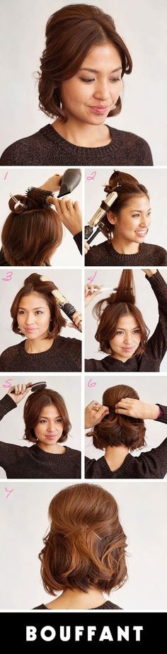 Short on time, but want to craft a cute hairstyle? While you may not always have time for a beautiful blowout or fancy updo, there are many different ways you can style your gorgeous shorter hair that take 10 minutes or less. Check out these 10 easy tutorials we scouted just for you! Perfect for a day you are running late for class or church!   TWISTED REIGN PULL-BACK (click for instructions)   SHORT STACK   BEACHY WAVES (click for instructions)   GLAM BOUF...