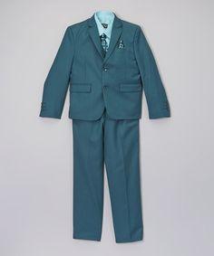 Green & Aqua Five-Piece Suit Set - Toddler & Boys #zulily #zulilyfinds