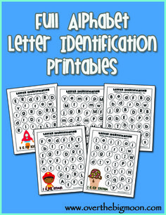 Full Alphabet Letter Identification Printables. One for each letter and includes both upper and lowercase on each page. Great for scanning.