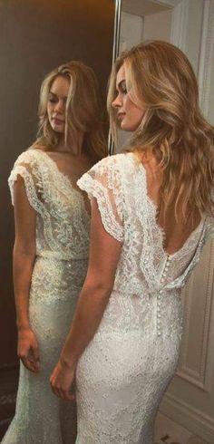 59547328ef 15 Amazing Boho Wedding Dresses With Sleeves boho wedding dresses with  sleeves v neckline lace sheath open back lihi hod Full gallery:  weddingdressesgui.