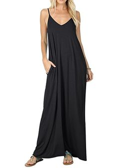 Maxi Dress Women's Summer Casual Plain Flowy Pockets Loose Beach Cami Dress -- Details can be found by clicking on the image. (This is an affiliate link) Casual Dresses, Summer Dresses, Maxi Dresses, Women's Casual, Casual Summer, Long Dresses, Summer Outfits, Shift Dresses, Dress Long