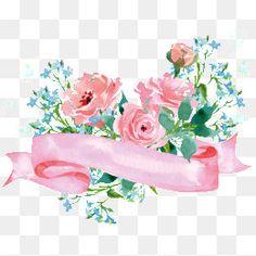 Decoração de Flores, Rosa, Flores Azuis, Aquarela De FloresImagem PNG