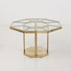 Gabriella Crespi; Brass and Glass Modular Console Tables/Center Table, 1973.