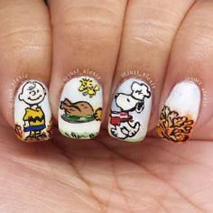 CHARLIE BROWN THANKSGIVING by just_alexiz  #nail #nails #nailart
