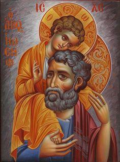 Orthodox Icons written by the hand of Eleni Dadi (Ελένη Ντάση) Joseph, Orthodox Icons, Byzantine Art, St Joseph, Best Icons, Catholic Art, Christian Art, Art Icon, Sacred Art