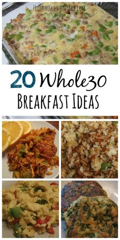 20 Whole30 breakfast ideas and recipes! Great resource for healthy grain and dairy free breakfasts. (My FAVORITE breakfast casserole is on this list)