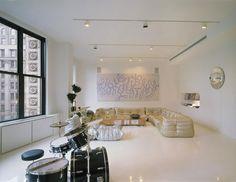 Apartement Living Room Interior Among Elegant Togo Sofa Under L Shaped Interior Color Theme in Loft Interior for Creative Mind