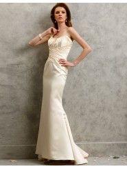 Duchess Satin Strapless Ruched Bodice Mermaid Prom Dress