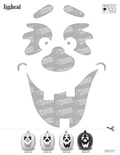 Get free pumpkin carving patterns, templates, stencils, tools, and kits for Halloween family fun! Carve your Jack-O-Lantern masterpiece with Pumpkin Masters® Halloween Pumpkin Carving Stencils, Halloween Pumpkins, Halloween Decorations, Halloween Templates, Halloween Projects, Halloween Stuff, Halloween Ideas, Happy Halloween, Pumpkin Template