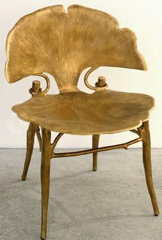 Cast bronze Gingko chair, by French Claude Lalanne (b. 1924). via Plum Siena