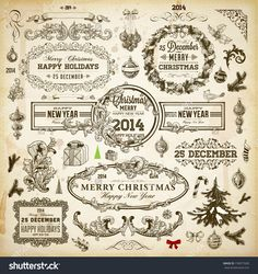 Christmas Decoration Collection   Set Of Calligraphic And Typographic Elements, Frames, Vintage Labels. Ribbons, Borders, Wreath And Christmas Tree, Bird And Engraving Xmas Baubles. Holiday Vector. - 159077600 : Shutterstock