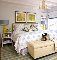 Love the yellow accents, shades, ceiling . . . It would look awesome in dark wood!