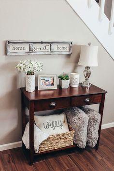 entry table // entry table decor // modern farmhouse // modern farmhouse decor // home decor // wall decor // lamp // flower vase // succulent plant // pillows // wicker basket // wifey // wifey pillow #FarmhouseLamp
