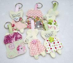 Handmade keyrings made by me using Tilda fabrics for I Love Pretty Things