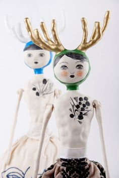 Air Dry Clay Art Doll with Antlers OOAK by DoubleFoxStudio